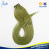 Indian remy hair with green tape european hair extension from Guangzhou Aofa Hair factory