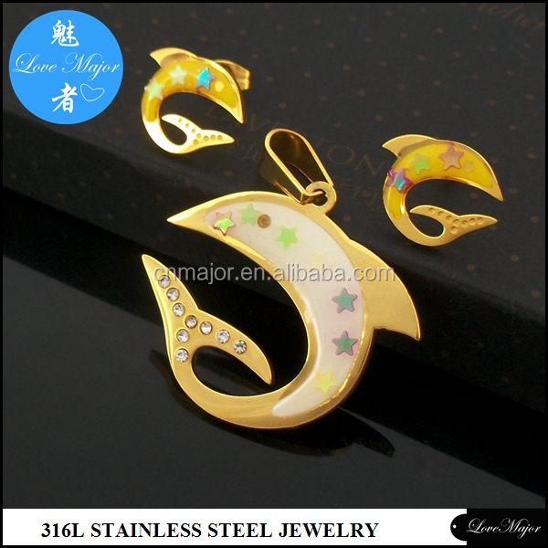 18 karat gold stainless steel dolphin pendant earring jewelry sets with crystal diamond filve star