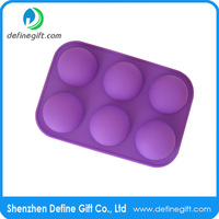 6 Hole Half Sphere Round Ball Shape Jelly Ice Candy Muffin Silicone Cupcake Mold
