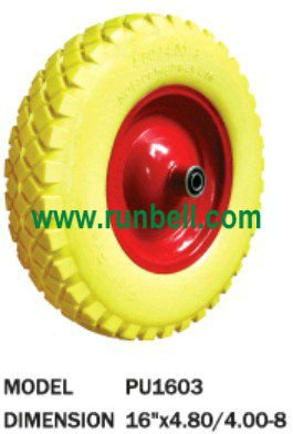 "16"" PU wheels, never going flat, light weight excellent load capacity"