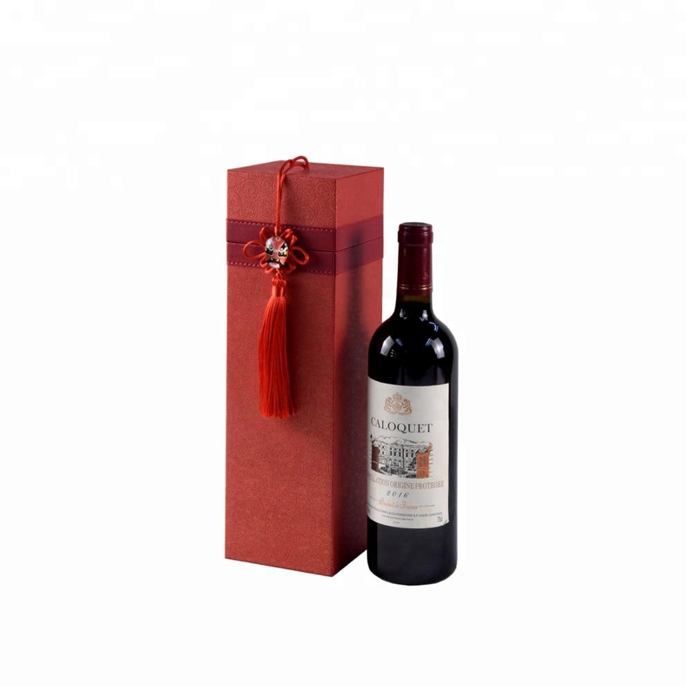 Traditional square luxury PU leather gift wine box for single bottle