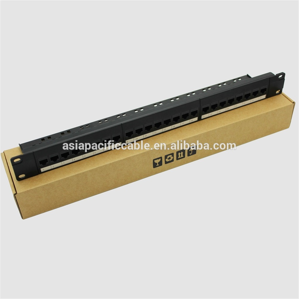 Manufacture RJ45 24 Port 1U 19inch UTP Cat5e Patch Panel For 19 Inch Server Rack Hot Sell