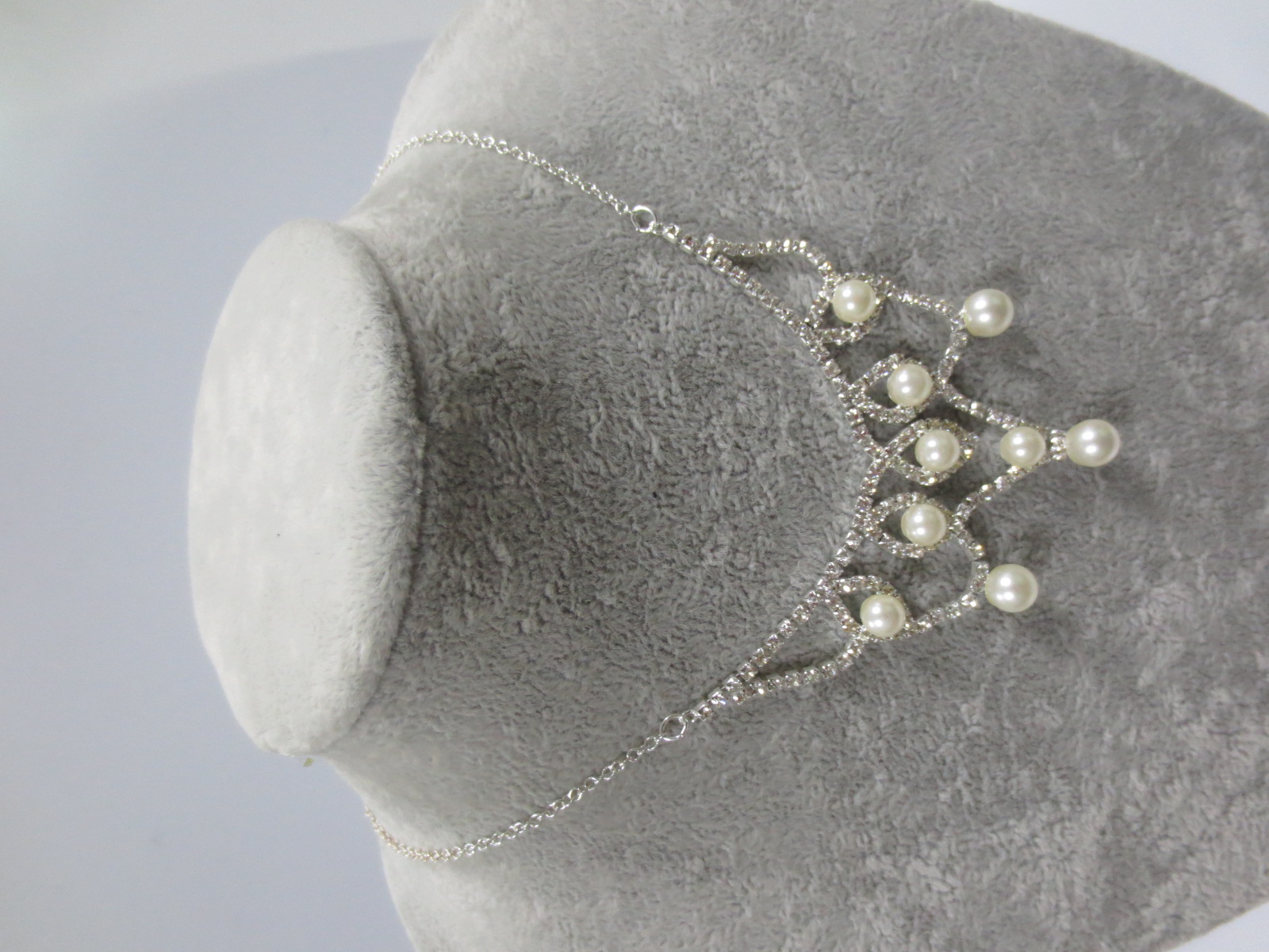 Beautiful bridal wedding accessories fashion pearl diamond necklace and earrings sets