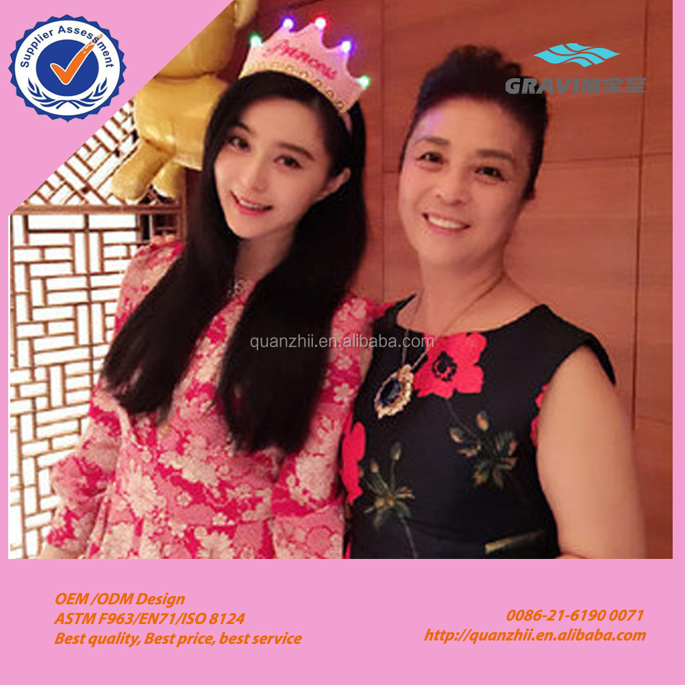 Super star Bingbing fan same type colorful Led light up happy birthday cap party king and princes hat