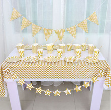 Custom high quality gold striped disposable paper <strong>plates</strong>, napkins, cups, banners for birthday party parties