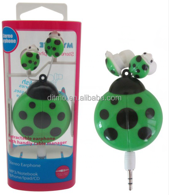 China Stereo retarctable earphones with falt cable ,Cute ladybird earphones winder for mobile phone,laptop,mp3,mp4