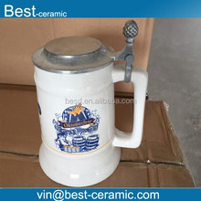 tiger brand promotional porcelain beer stein with lid