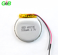 Rechargeable round polymer li-ion battery 483735 3.7v 530mah lipo battery for circular space