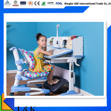 Kids Ergonomic adjustable height children desk and chair school furniture with table lamp