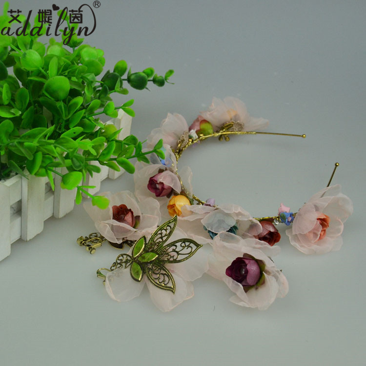 Artificial Flower Wedding Ring /Hairband/Stud Earrings
