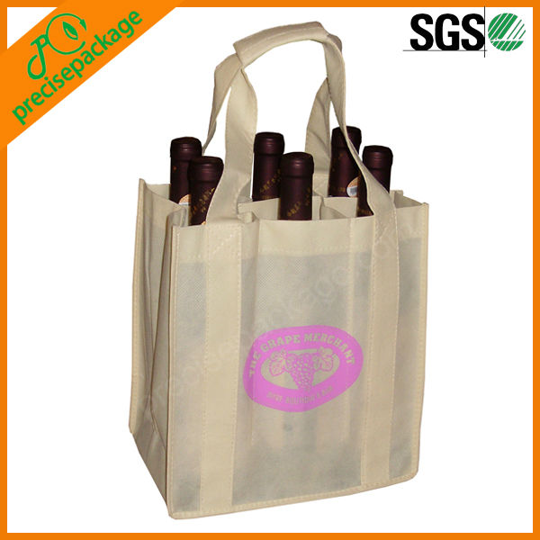 6 pack promotion recycled non woven wine bottle bag,reusable wine bottle bag