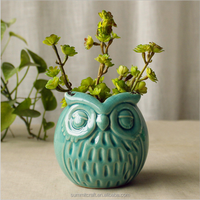 Ceramic Blue Glazed Animal Owl Flower
