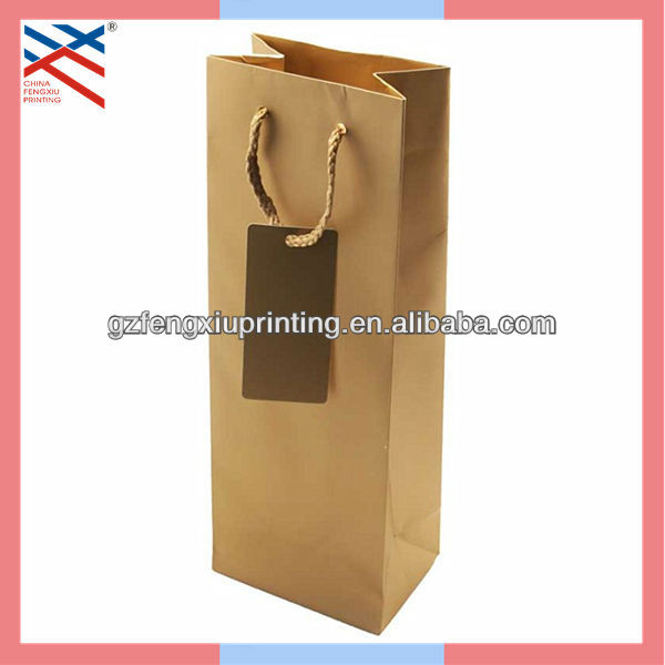 Brown Paper Wine Tote Bag with Tag