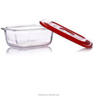 Oblong airtight glass packaging box with PP lid
