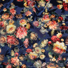 Hot stamping flower print polyester velvet fabric,burnout fabric,korea velvet for dress