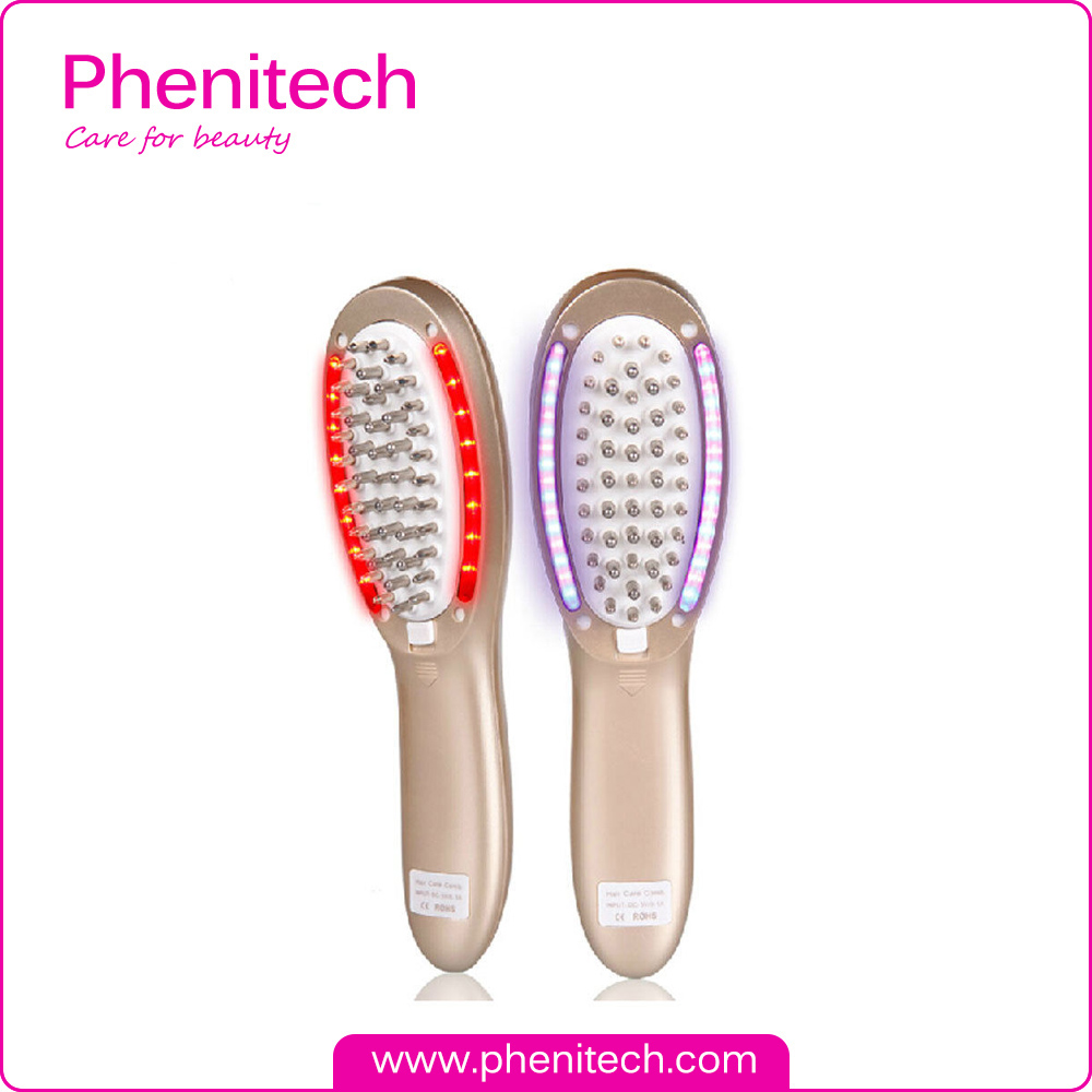 Electric LED Light Microcurrent Comb Anti Hair Vibration Massager