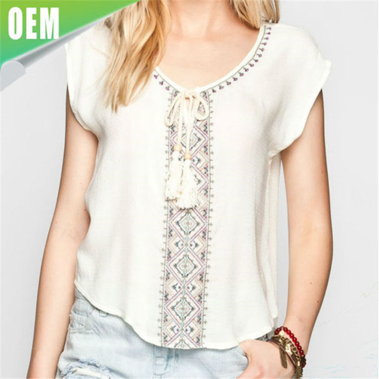 latest design Cap Sleeve Embroidered fancy Tops for ladies