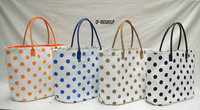 Dots printing women straw handbags/Fashion paper straw tote bags
