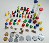 custom wooded and plastic board game pieces pawns dices sand timer