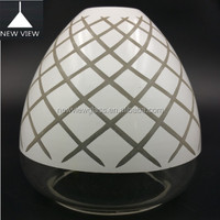 Wholesale mouth blown clear and carved opal shinny milk cylinder glass lighting light fixture for table lamp