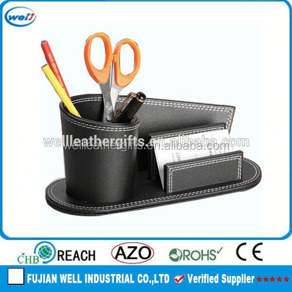 Single and fashion faux leather desk organizer for home and office suit