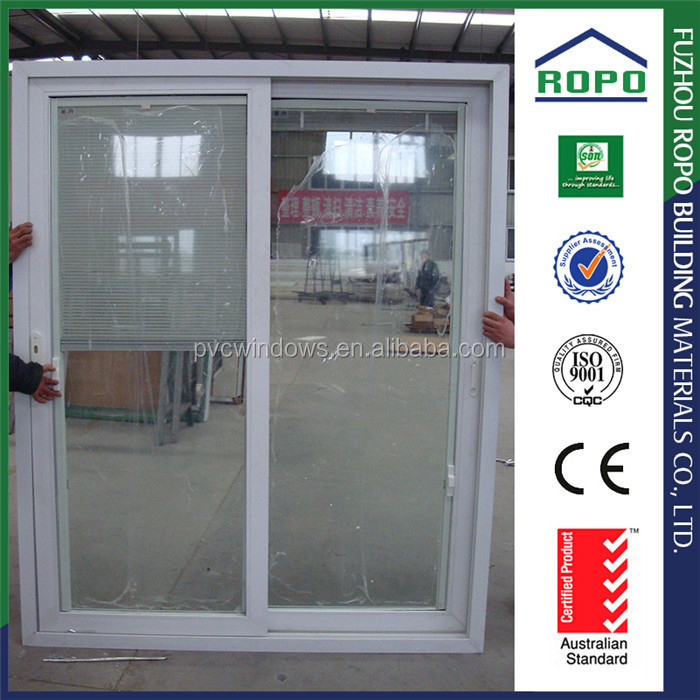 China supplier PVC two panels shutter bathroom sliding glass door