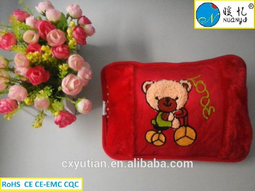 ningbo embroidery designs electric hot water bag/hot water bottle cover