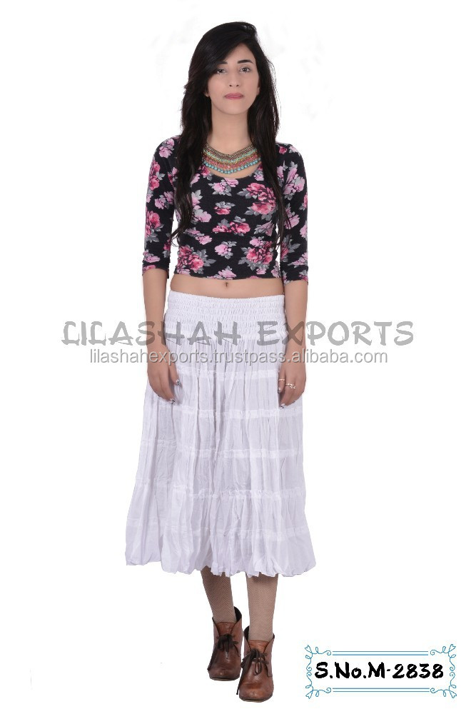 M2838 Cotton skirts Tiered Skirt New Garments Voil Print Camric Print Soft Rayon Printed Indian Kurta cotton summer short skirt