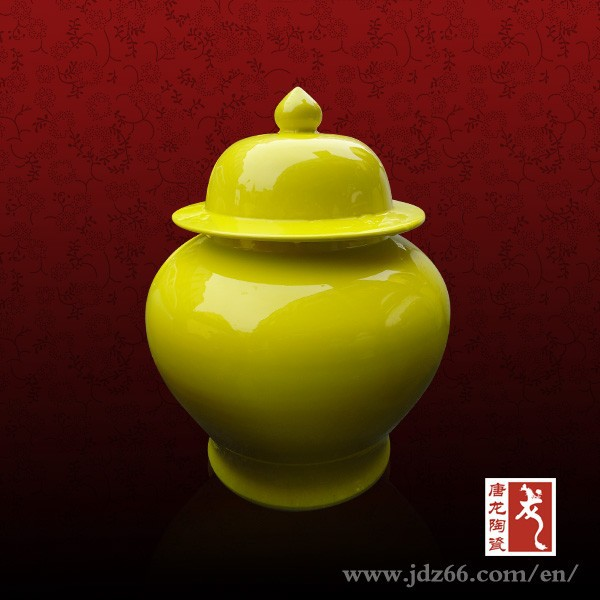 Yellow glazed home decor porcelain unique honey jars for hot sale made in China