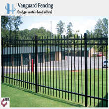 Hot Selling Long Life Powder Coated Steel Picket Style,3 Rail Fence