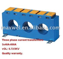 Three phase current transformers.
