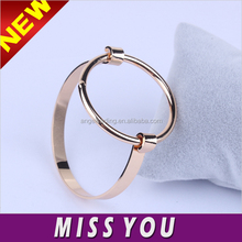 Wholesale texture wide surface geometry round copper bracelet