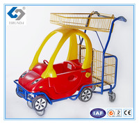 kids supermarket shopping trolley with toy cars and two baskets
