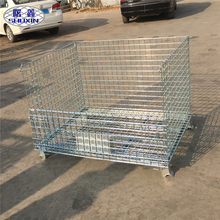 wholesale foldable lockable wire mesh transport metal storage wire mesh pallet cage