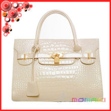 fashion Christmas and New year Europe and America Platinum metal bright red crocodile handbag