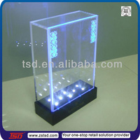 TSD-A795 customized clear acrylic case/customized clear acrylic cube boxes/bottle display case with Led lights