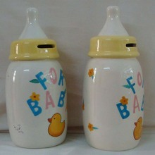Ceramic Cute Bottle Design Money Box Coin Bank for Gifts