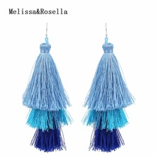 2017 New Design China Wholesale Handmade Silk Thread Cheap Bohemian Three Layer 925 Silver Fishhook Tassel earrings For Women