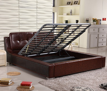 Modern king /queen size leather bed new fashionable soft bedroom furniture showroom bed Pneumatic lifting storage bed