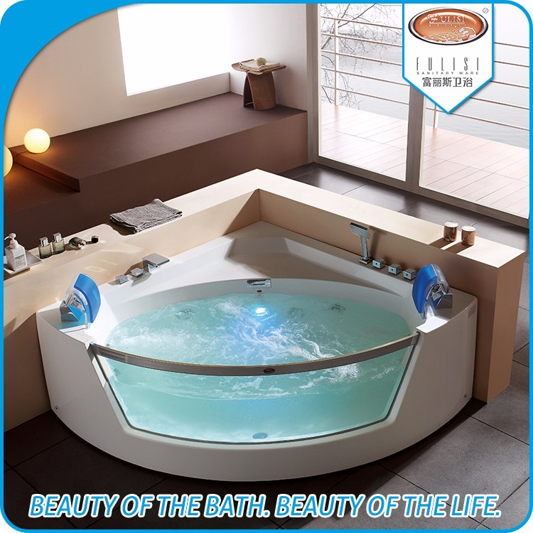 Clear acrylic transparent custom size small triangle shaped corner deep sitting bathroom bathtub with shower combo