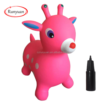 RUNYUAN Pink Inflatable Jumping deer,Eco-friendly PVC,Children Toy