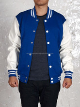 good quality newest style blue and white varsity jackets