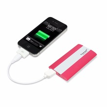 Multifunction 2500mAh portable power bank credit card size and built in cable