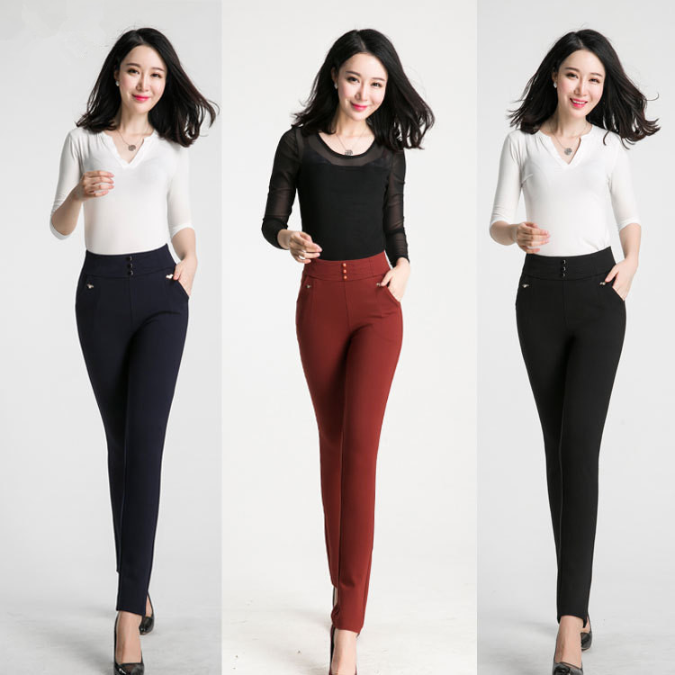 Top level hot sale zipper back ladies tight pants