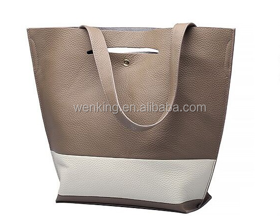 Free Shipping Wholesale Fashion Woman Tote Bag + Brief Patch Design Genuine Leather Handbag