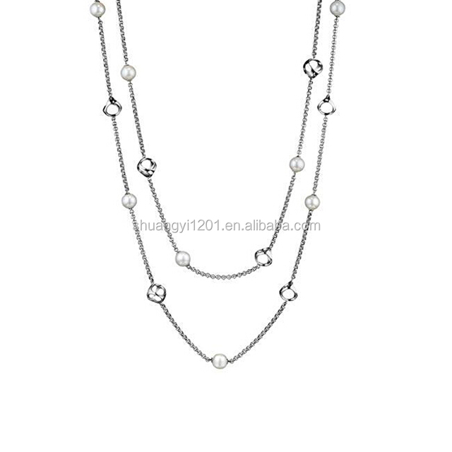 Fashion crystal link long chain pearl necklace jewelry