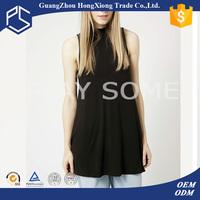 2016 new arrival black sleeveless women t shirt wholesale