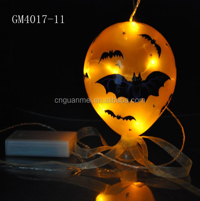 Halloween Blown Warm white micro led light balloon with bat