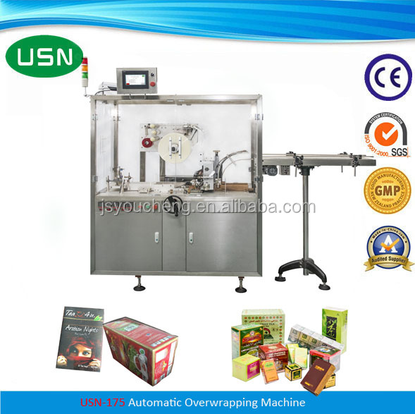 Tear Tape Included Green Tea Box Cellophane Packaging Machine