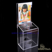 Storage acrylic material donation boxes, transparent cheap donation box with ad brochure ST-CCMAK-01